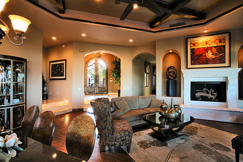 Large living space with beamed ceiling